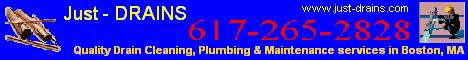 Just-Drains provides high-quality plumbing, drain cleaning & line maintenance services for homes and businesses all over the state of Massachusetts.  No plumbing job is too big or too small for our plumbers.